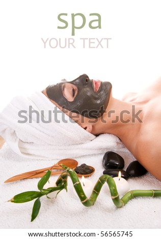 Spa. Facial Mud Mask.Isolated on white - stock photo