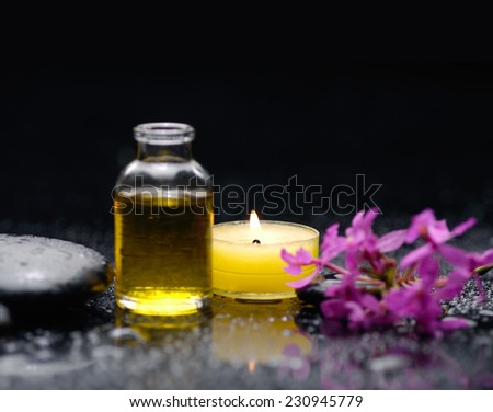 Spa feeling with candle , stones, branch orchid,oil - stock photo