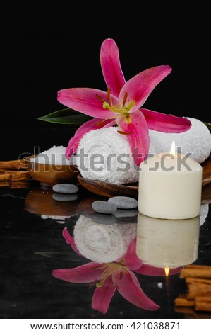 Spa feeling with lily, towel ,salt in bowl ,candle , pebbles - stock photo