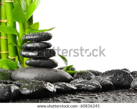 spa frame made from stones and bamboo - stock photo