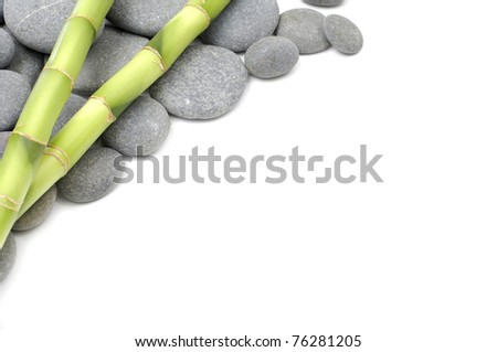 spa frame with stones and bamboo - stock photo