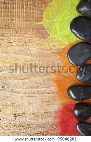 spa frame with stones and leaves - stock photo