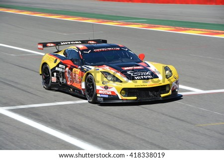 SPA-FRANCORCHAMPS, BELGIUM - MAY 5: No. 50 Larbre Chevrolet Corvette C7 of Yutaka Yamagishi, Pierre Ragues and Paolo Ruberti during round 2 of the FIA WEC on May 5, 2016 in Spa-Francorchamps, Belgium. - stock photo