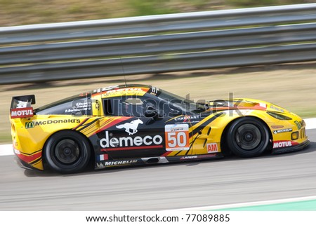 SPA FRANCORCHAMPS, BELGIUM - MAY 7: Patrick Bornhauser drives a Chevrolet Corvette ZR1 on May 7, 2011 in the 1000km race of Spa Francorchamps, Belgium - stock photo