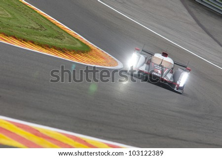 SPA FRANCORCHAMPS - MAY 3: Marco Bonanomi and Oliver Jarvis in the Audi R18 Ultra racing on May 3, 2012 in the 6 hours race of Spa Francorchamps, Belgium