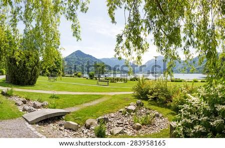 spa gardens and promenade schliersee, german landscape - stock photo