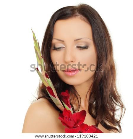 Spa girl, healthy brown hair - stock photo