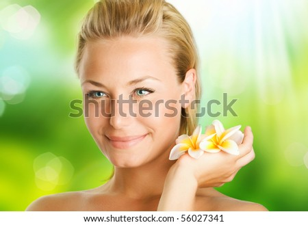 Spa Girl over nature background - stock photo