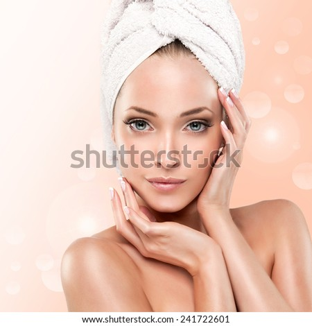 Spa Girl  with clean skin . Beautiful Young Woman After Bath Touching Her Face. shower , - stock photo