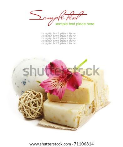 Spa Handmade Soap isolated on white - stock photo