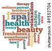Spa, health and beauty info-text graphics and arrangement concept on white background (word clouds) - stock photo