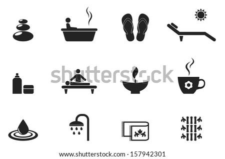 spa icons set - stock photo