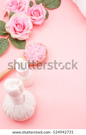Spa in Pink Color Concept on Pink Rose Background with Free Text Space, Flat Lay Style