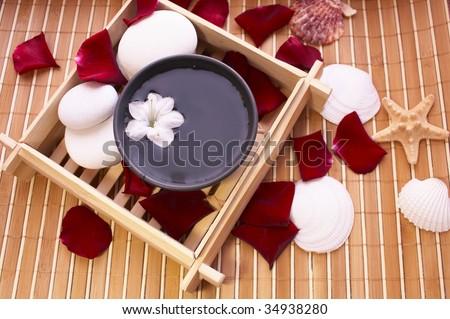 Spa items, bowl and seashells on bamboo mat - stock photo