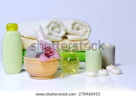 spa items with lilac orchid