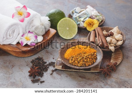 Spa. Jamu Indonesian spa, fresh ingredients. Some of the traditional Indonesian spices used in Jamu spa treatments.  Macro, selective focus, retro style processing. Natural light - stock photo