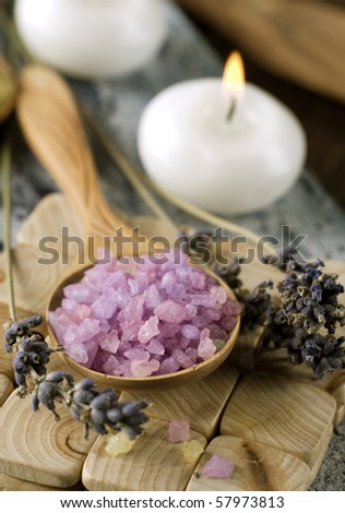 Spa Lavender Salt - stock photo