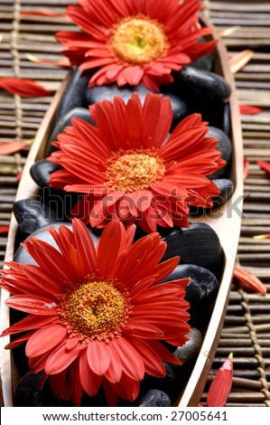Spa life setting. red flower and stone on mat - stock photo