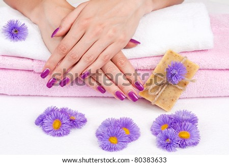 Spa manicure treatment with purple flowers and herbal soap - stock photo