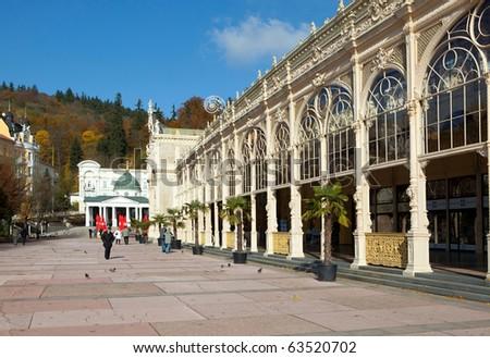 Spa Marianske Lazne - colonnade, Bohemia - stock photo