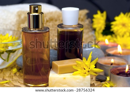 Spa, massage and bath items in a relaxing and serene setting
