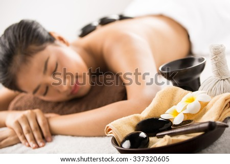 Spa massage. beauty treatments. spa hot stones.top view - stock photo