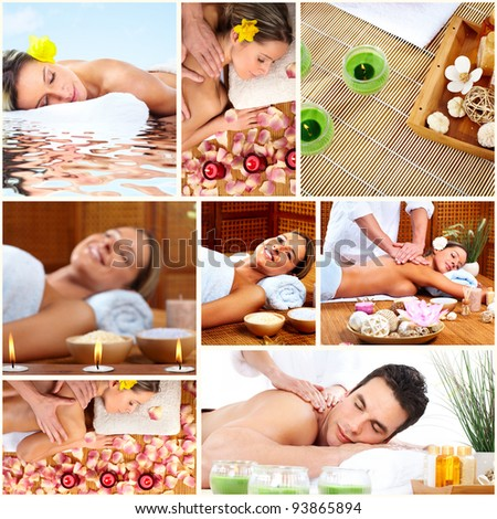Spa massage collage background. Relax.