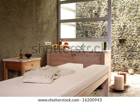 spa massage room - stock photo