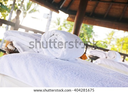 spa massage room in the beach - stock photo
