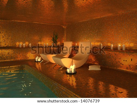 spa modern interior (3D rendering) - stock photo