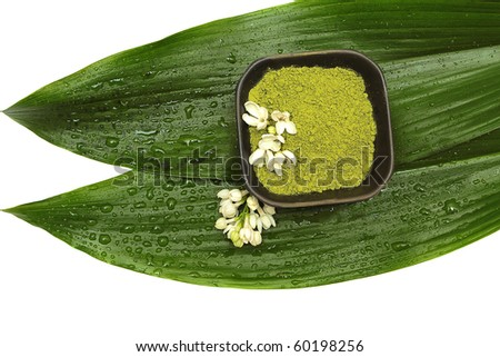 Spa mud, flower and green leaf on white background - stock photo