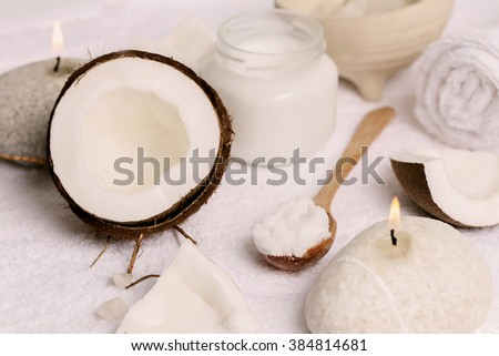 Spa. Natural coconut oil on the table