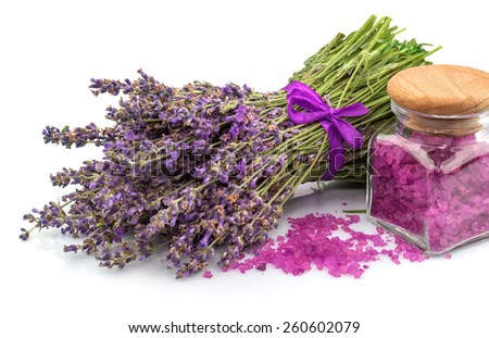 Spa natural product, lavender, aroma salt isolated on white background - stock photo