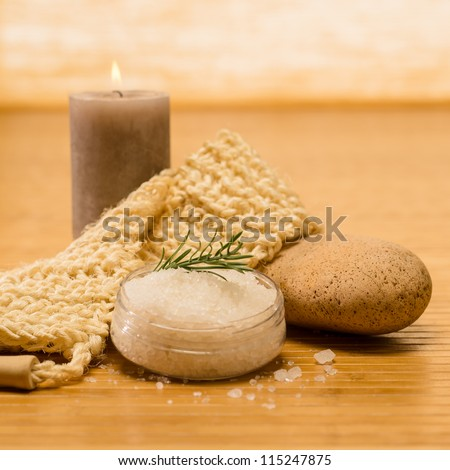 Spa natural products skin scrub and salt on wooden background - stock photo