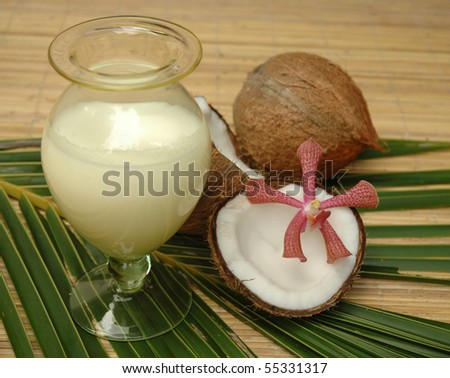Spa objects with coconut and milk - stock photo