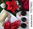 spa objects with exotic flowers and stones - stock photo