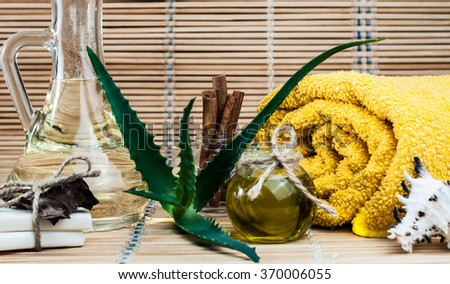 spa, oil, aloe leaves, cinnamon, handmade soap - stock photo