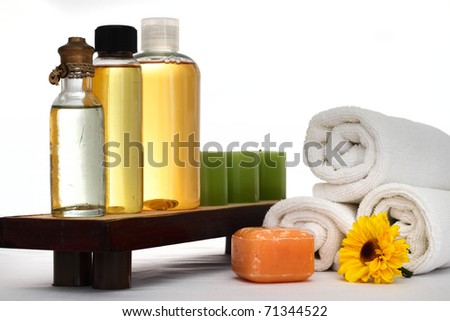 Spa oils, candles, towels and other spa products - stock photo