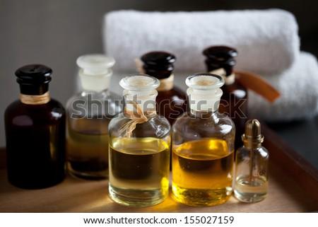 Spa oils in bottles - stock photo