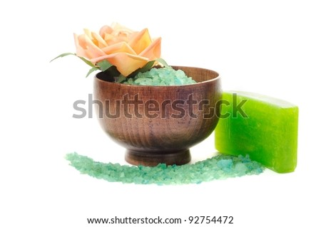 Spa or bathroom concept with soap  and salt, on a white background - stock photo