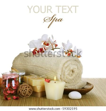 Spa over white - stock photo
