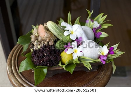 Spa products in tropical Thailand - travel and tourism. - stock photo