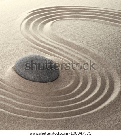 spa relaxation garden japanese culture concept for concentration and purity sand and stones background - stock photo