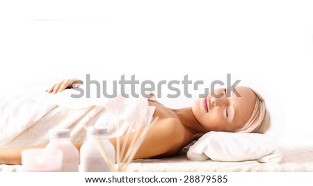 SPA relaxing. woman lying  and relaxing. aromatherapy - stock photo