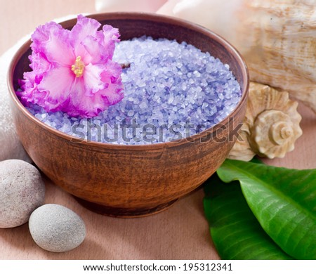 Spa salon design with sea salt, shell and palm leaves - stock photo