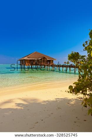 Spa saloon on Maldives island - nature travel background - stock photo