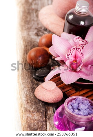 SPA. Salt,oil and masseur - stock photo
