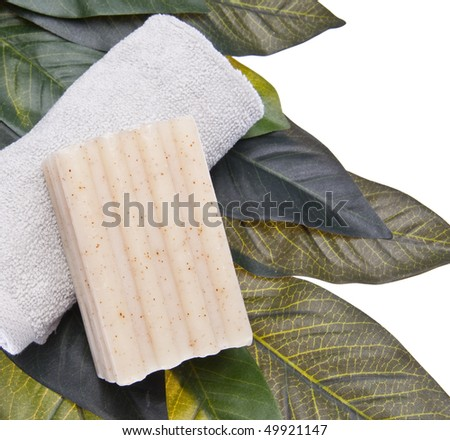 Spa scene with soap, and towel on a leaf background isolated on white with a clipping path. - stock photo