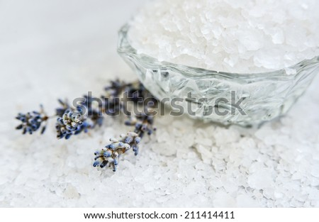 Spa, Scented Sea salt, Selective focus - stock photo