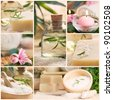 Spa series. Spa collage made of five images. Floral water, bath salt, candles and towel. - stock photo